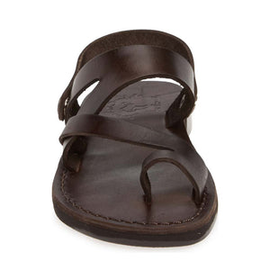 Benjamin brown, handmade leather sandals with back strap and toe loop- front View