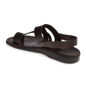 Benjamin brown, handmade leather sandals with back strap and toe loop- back View