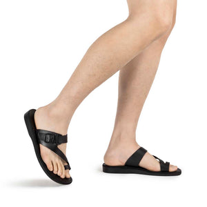 Abner black, handmade leather slide sandals with toe loop - Model View