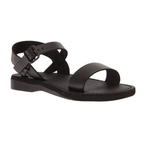 Naomi black, handmade leather sandals with back strap - Front View