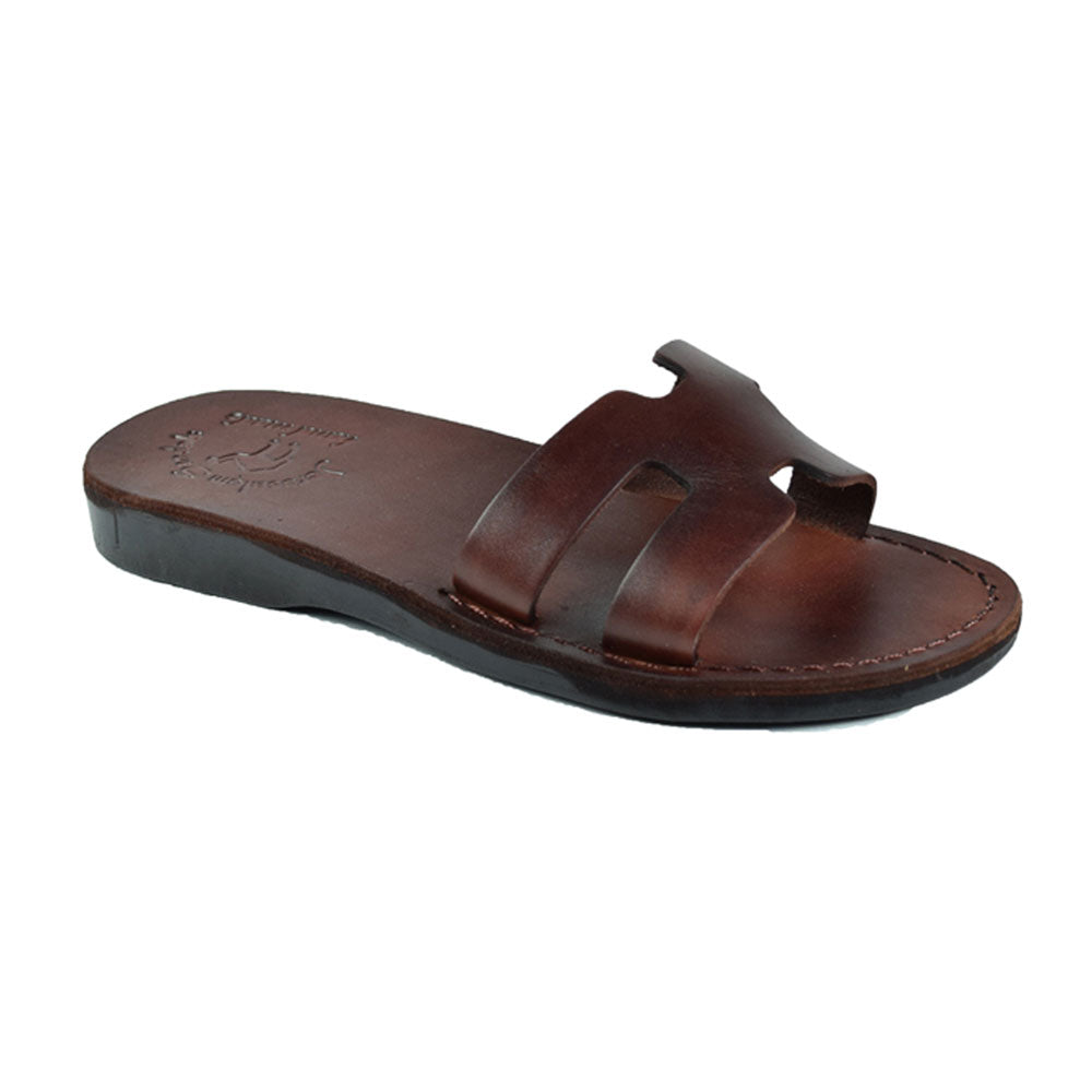 Anna Brown, handmade slide leather sandals - Front View