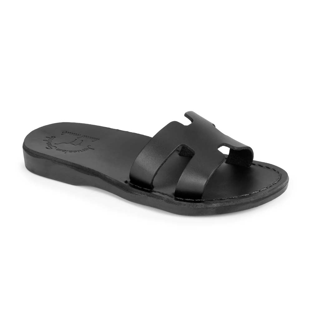 Anna Black, handmade slide leather sandals - Front View