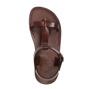 Bathsheba brown, handmade leather sandals with back strap - Side View