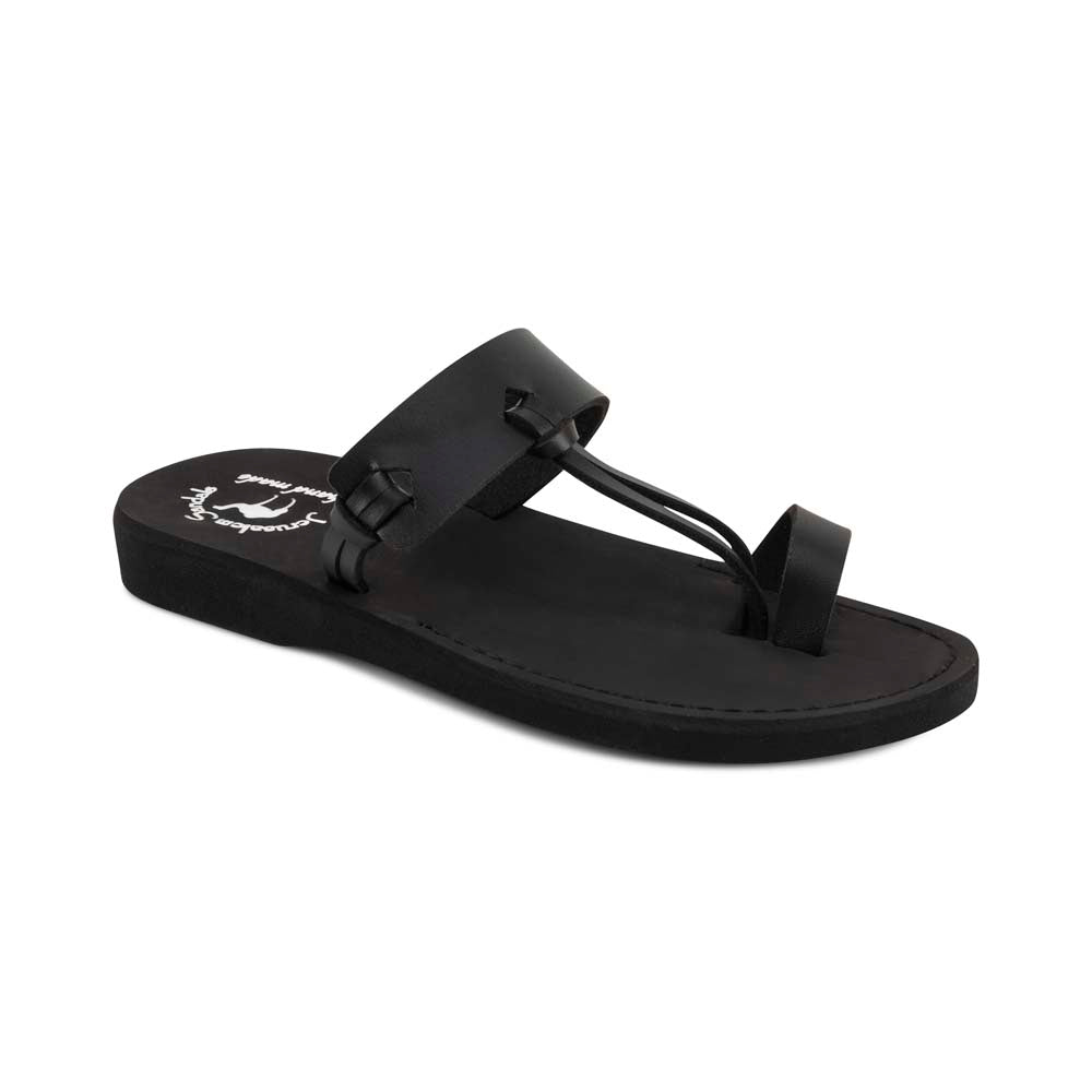 David - Vegan Leather Sandal | Black front view