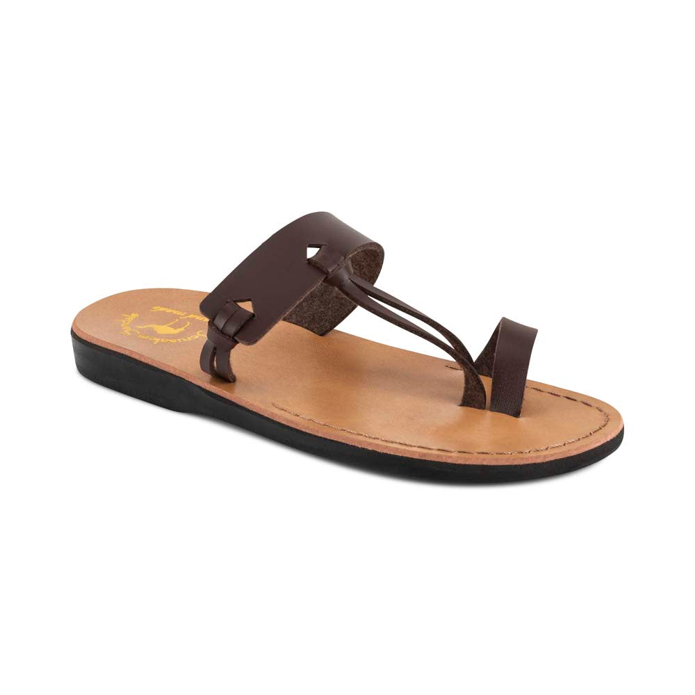 David - Vegan Leather Sandal | Brown front view