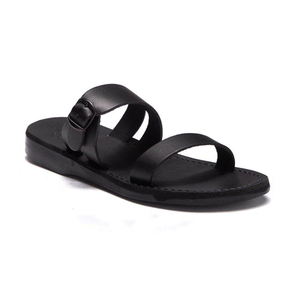 Dan black, handmade leather slide sandals - Front View