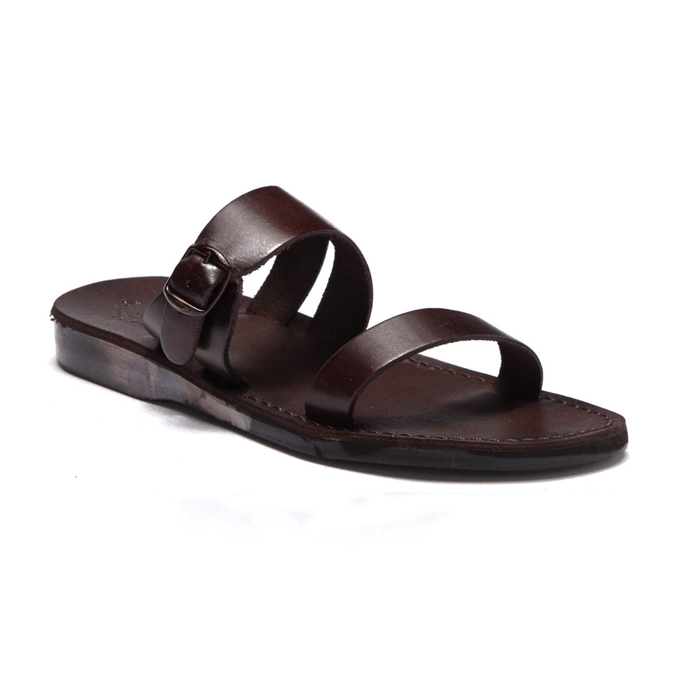 Dan brown, handmade leather slide sandals - Front View