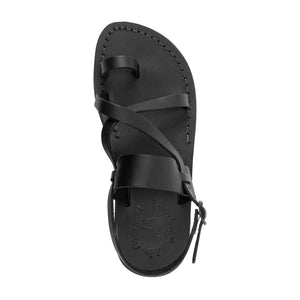 Bethany black, handmade leather sandals with back strap and toe loop - side View