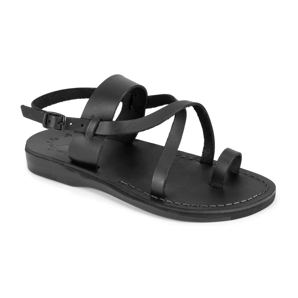 Bethany black, handmade leather sandals with back strap and toe loop - Front View