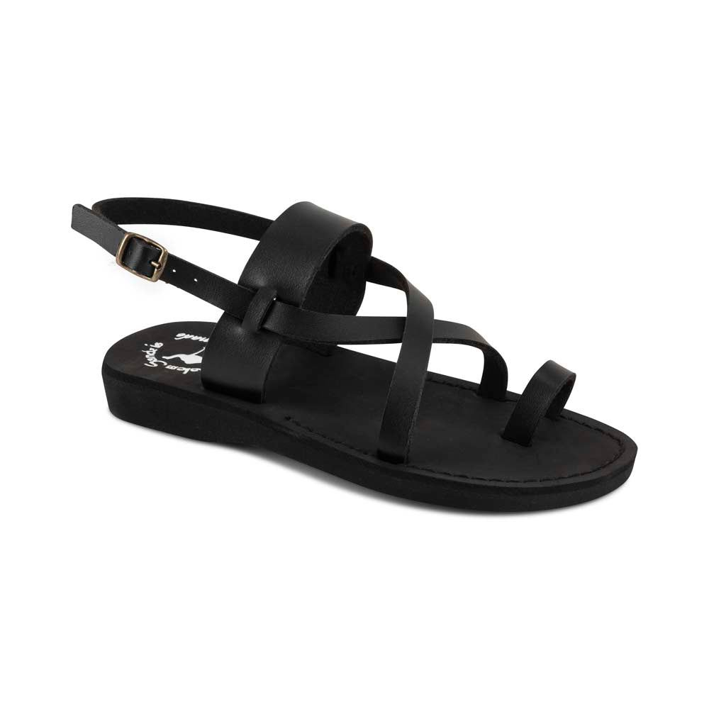 Bethany - Vegan Leather Sandal | Black front view