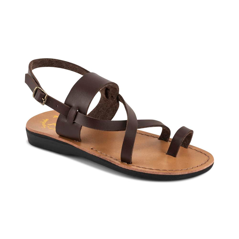 Bethany - Vegan Leather Sandal | Brown front view