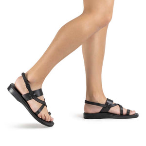 Bethany black, handmade leather sandals with back strap and toe loop - Model View