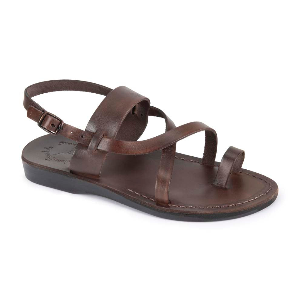 Bethany brown, handmade leather sandals with back strap and toe loop - Front View