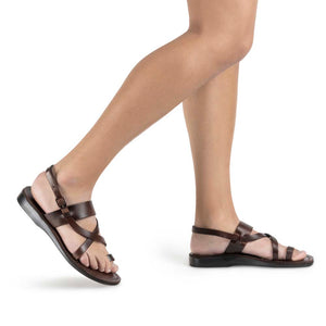 Bethany brown, handmade leather sandals with back strap and toe loop - model View