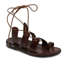 Load image into Gallery viewer, Deborah brown, handmade leather sandals with back strap and toe loop - Front View