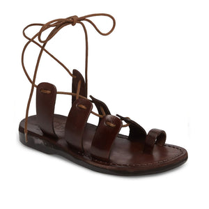 Deborah brown, handmade leather sandals with back strap and toe loop  - Front View