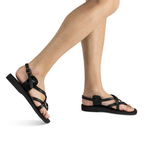 Tamar Buckle - Vegan Leather Sandal | Black model view