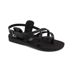Tamar Buckle - Vegan Leather Sandal | Black front view