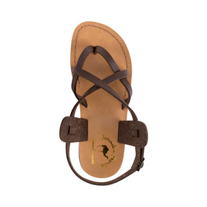 Tamar Buckle - Vegan Leather Sandal | Brown up view
