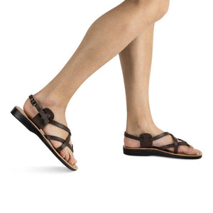 Tamar Buckle - Vegan Leather Sandal | Brown model view