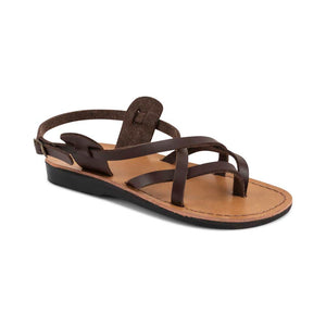 Tamar Buckle - Vegan Leather Sandal | Brown front view