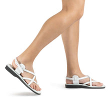 Load image into Gallery viewer, Tamar Buckle white, handmade leather sandals with back strap - Front View