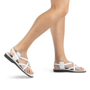 Tamar Buckle white, handmade leather sandals with back strap - Front View