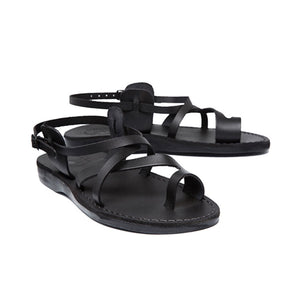 The Good Shepherd Buckle black, handmade leather sandals with back strap and toe loop- back View