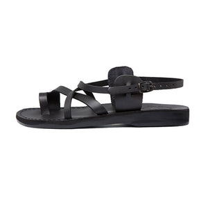 The Good Shepherd Buckle black, handmade leather sandals with back strap and toe loop- left View
