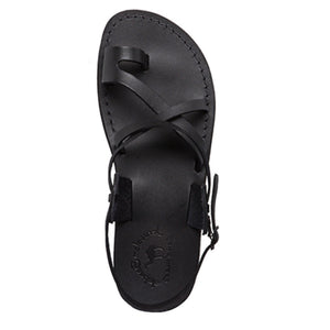 The Good Shepherd Buckle black, handmade leather sandals with back strap and toe loop- Side View