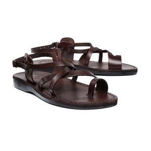 The Good Shepherd Buckle brown, handmade leather sandals with back strap and toe loop - back View