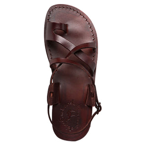 The Good Shepherd Buckle brown, handmade leather sandals with back strap and toe loop - up View