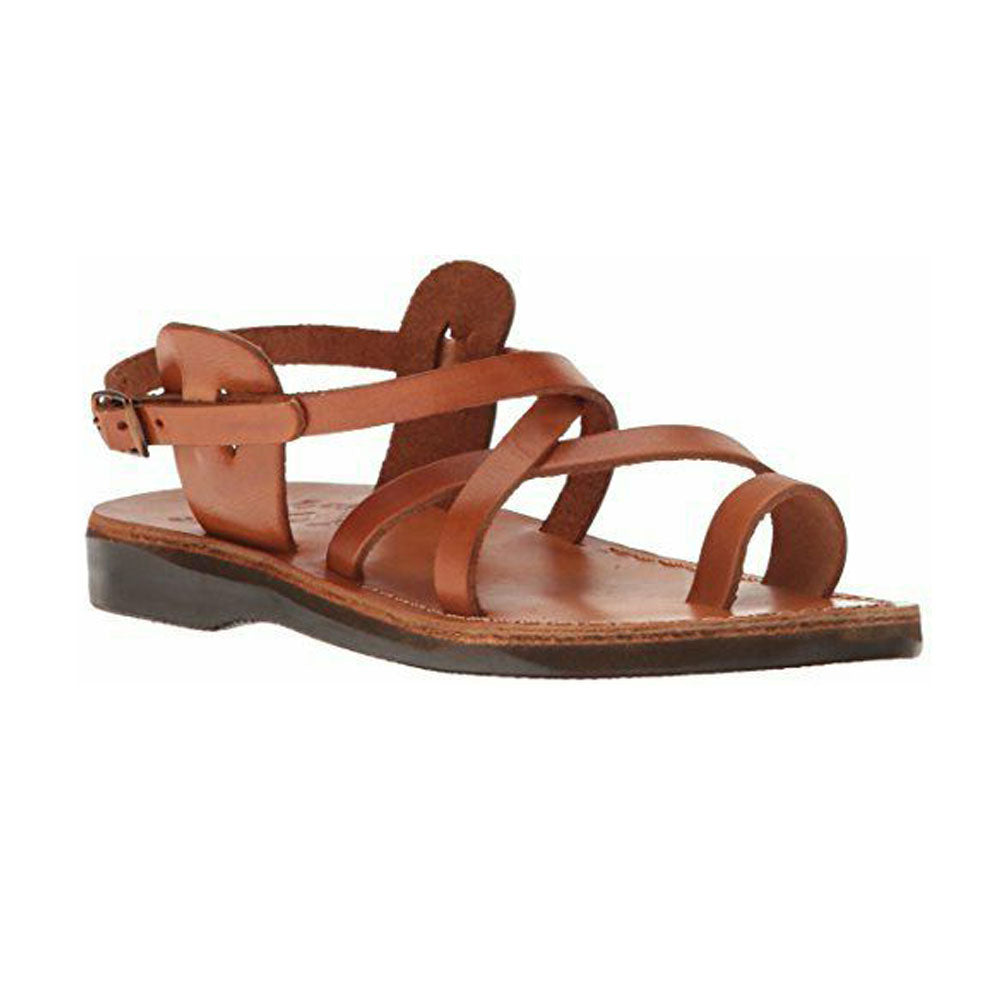 The Good Shepherd Buckle honey, handmade leather sandals with back strap and toe loop - Front View