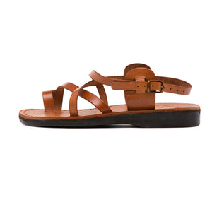 The Good Shepherd Buckle honey, handmade leather sandals with back strap and toe loop - left View