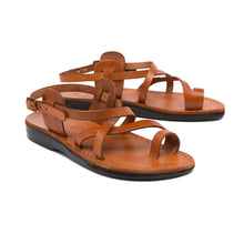 Load image into Gallery viewer, The Good Shepherd Buckle honey, handmade leather sandals with back strap and toe loop - straps View