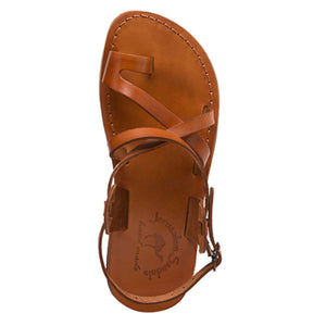 The Good Shepherd Buckle honey, handmade leather sandals with back strap and toe loop - up View