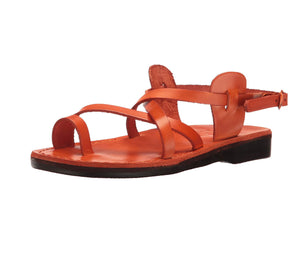 The Good Shepherd Buckle orange, handmade leather sandals with back strap and toe loop- left View