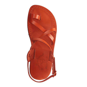 The Good Shepherd Buckle orange, handmade leather sandals with back strap and toe loop- up View