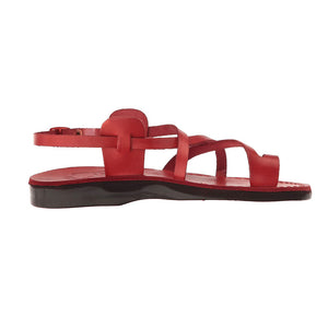The Good Shepherd Buckle red, handmade leather sandals with back strap and toe loop- right View