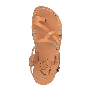 The Good Shepherd Buckle tan, handmade leather sandals with back strap and toe loop- Side View
