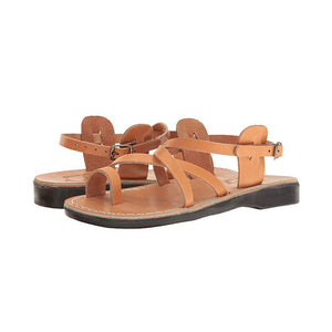 The Good Shepherd Buckle tan, handmade leather sandals with back strap and toe loop- straps View