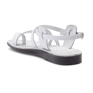 The Good Shepherd Buckle white, handmade leather sandals with back strap and toe loop- back View