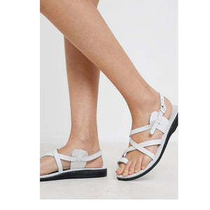The Good Shepherd Buckle white, handmade leather sandals with back strap and toe loop- on model View