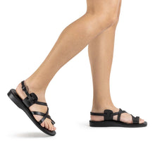 Load image into Gallery viewer, The Good Shepherd Buckle black, handmade leather sandals with back strap and toe loop - Front View