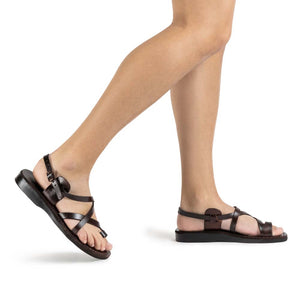 The Good Shepherd Buckle brown, handmade leather sandals with back strap and toe loop - Front View