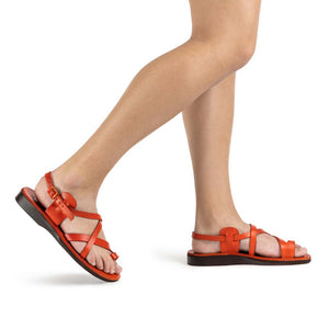 The Good Shepherd Buckle orange, handmade leather sandals with back strap and toe loop - Model View