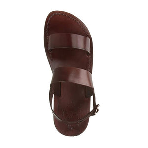 Golan brown, handmade leather sandals with back strap - side View