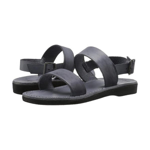 Golan gray, handmade leather sandals with back strap - strap View