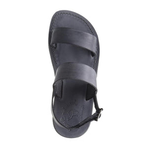 Golan gray, handmade leather sandals with back strap - up View