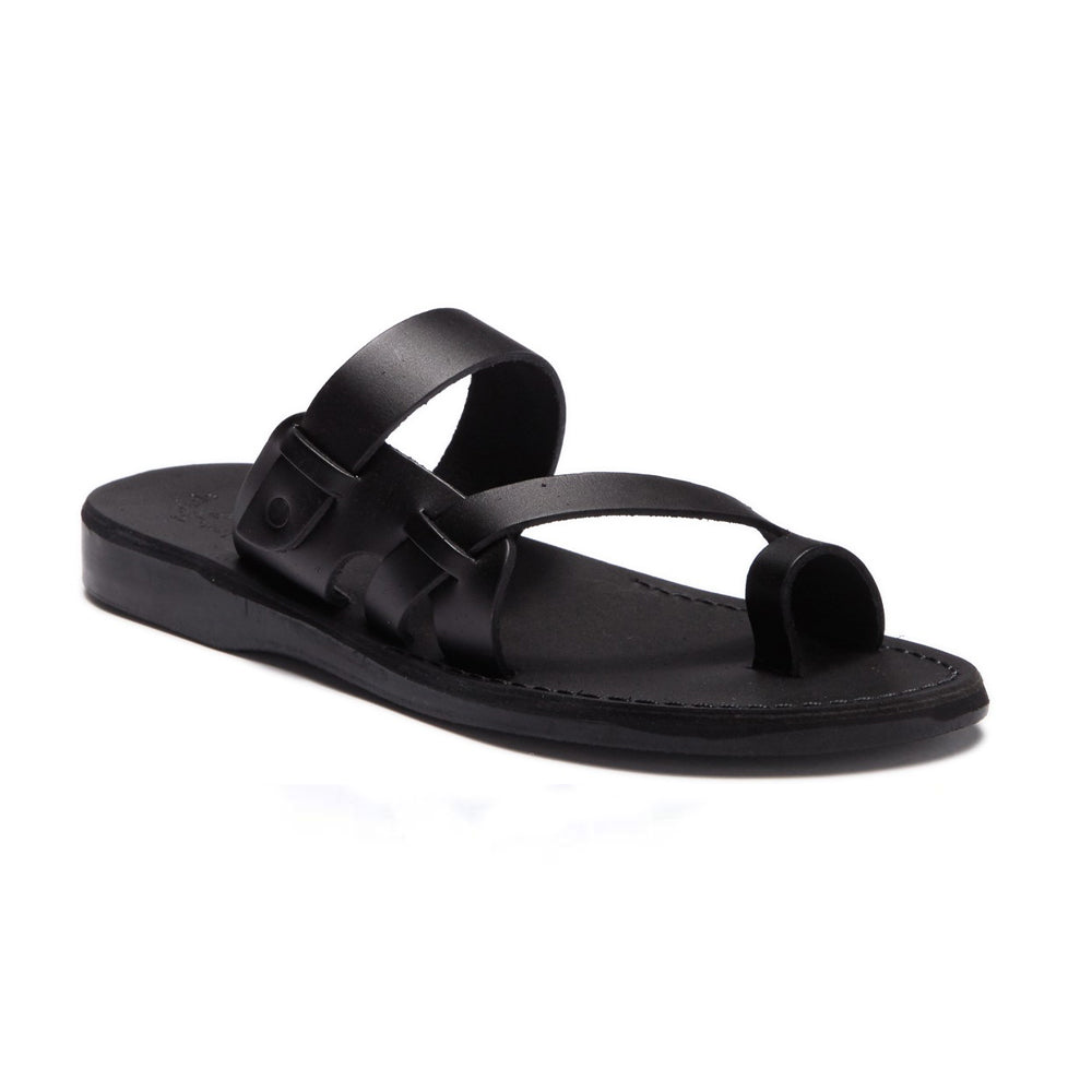 Jabin black, handmade leather slide sandals with toe loop - Front View